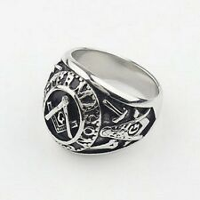 Mens Silver Ring Free Mason Stainless Steel Master Mason Masonic Ring