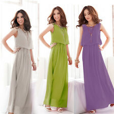 Women Fashion Chiffon Sleeveless Party Long Maxi Dress Boho Pleated Formal Gown