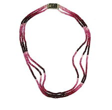 140Cts Natural Fine Faceted RUBELLITE PINK TOURMALINE Bead Multi Strand Necklace