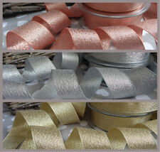 Sparkly Lame Ribbon by Berisfords ROSE GOLD/Silver/Gold Glitter Wedding Bridal