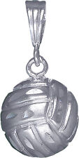 Sterling Silver Volleyball Ball Charm Pendant Necklace with Diamond Cut Finish