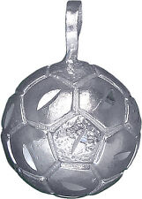 Sterling Silver Soccer Ball Charm Pendant Necklace Diamond Cut Finish with Chain