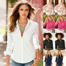 Women's Formal Shirts Long Sleeve Turn-down Collar Button OL Blouse Office Tops
