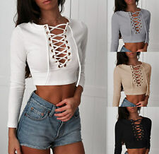 Fashion Women Long Sleeve Crop Top Lace Up Plunge V Neck Tops Blouse T-Shirt Tee