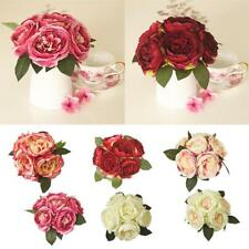 Artificial Silk Peony Hydrangea Bridal Bridesmaid Flower Bouquet Rose 6 Colors