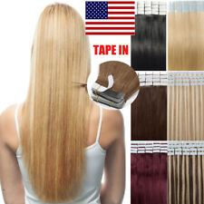 """Seamless Tape In 100% Remy Human Hair Extensions Skin Weft Real Hair 16-22"""" B100"""