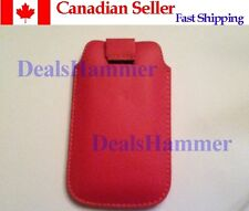 Pull Strap Leather Case for Phone iTouch iPod iPhone 4 4S MAGENTA