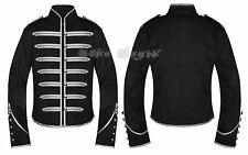 Silver & Black Gothic Steampunk Parade Military Marching Band Jacket Punk Emo