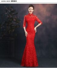 Ladies Chinese Lace Cheongsam QiPao Prom Wedding Party Bodycon Long Dress Gowns