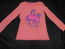 BNWT GIRLS CORAL LONG SLEEVED HORSES TSHIRT SIZE 12 14  TOP SHIMMERY