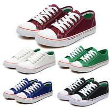Womens Plimsolls Lace Up Low Top Shoes Casual Trainers Canvas Flats Sneakers