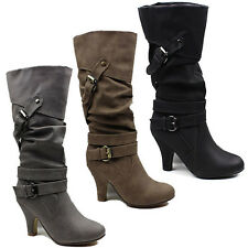 WOMENS LADIES SLOUCH FASHION MID CALF HIGH HEEL BOOTS SHOES SIZE 3-8