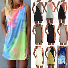 Womens Summer Sleeveless Casual Short Mini Dress Long Tops Party Beach Sundress