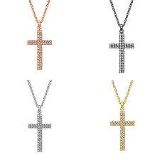 14K Gold, Rose, Black Rhodium, or Rhodium Plated Crystal Two Row Cross Necklace