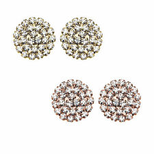 14K Gold or Rose Gold Plated Medium Round Crystal Stud Earring