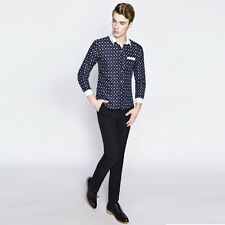 New Men Fashion Spring Shirts Long Sleeve Single-breasted Summer Dot Print Tops