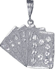 Sterling Silver Royal Flush of Hearts Poker Charm Playing Cards Pendant Necklace