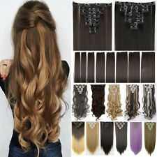 Women human New Clip In Hair Extension Cosplay Hair Extension Brown Red Gray Li8