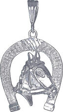Sterling Silver Horseshoe Charm Pendant Necklace Diamond Cut Finish with Chain