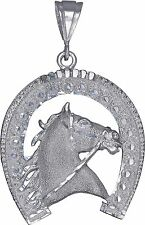 Sterling Silver Horseshoe Pendant Necklace Diamond Cut Finish 2.55 Inch 15 Grams