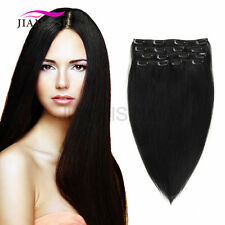120g Brazilian Clip In Human Remy Hair Long Straight Silk Human Hair Extensions
