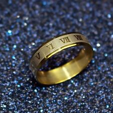 NEW Roman Numeral Gold Rings Stainless Steel Band Wrap Ring Jewelry Fashion Gift
