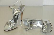 $1050 NEW MANOLO BLAHNIK SILVER Python JEWELED Pearls Crystals SHOES 41 Wedding
