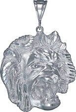 Sterling Silver Lion Pendant Necklace Diamond Cut Finish 2.6 Inhces 20.9 Grmas