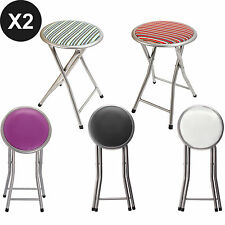 2Pcs Round Folding Padded Chair Breakfast Kitchen Office Bar Stool Soft Pub Seat