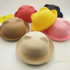 Fashion Girls Boys Straw Hats Baby Sun Hat Solid Floppy Cat Ears Decor Cap
