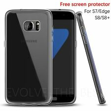 CLEAR ULTRA THIN SLIM TRANSPARENT TPU SILICONE GEL CASE COVER FOR SAMSUNG S7 S8+