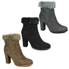 WOMENS LADIES HIGH HEEL FAUX FUR LINED COLLAR CHELSEA ANKLE BOOTS SHOES SIZE 3-8