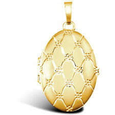 9ct Gold Quilted Daisy Oval 4 Picture Family Locket Pendant