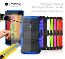 Motorola Moto G 1st Gen - Shockproof Strong Silicone Stand Case & Tempered GLASS