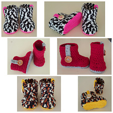 Hand crochetted Animal print baby autumn winter sneaker booties shoes