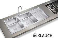 KLAUCH 2 DOUBLE BOWL STAINLESS STEEL KITCHEN SINK WITH DRAINER SATIN /ELCTPLTING