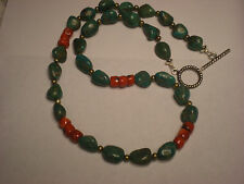 "21"" Blue Turquoise & Red Coral Necklace Sterling Silver Findings & Clasp 55grams"
