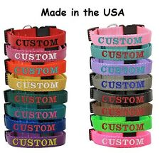 Custom Embroidered Dog Pet collars Adjustable Personalized Nylon Made in the USA