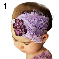 Baby Girl Kids Infant Toddler Feather Headband Hair Band Hair Flower Natural