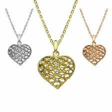 14K Gold, Rose Gold, or Rhodium Plated Filigree Crystal Heart Pendant Necklace