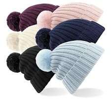 Warm Soft Touch Ribbed Acrylic Ski Faux Fur Pom Pom Beanie Hat