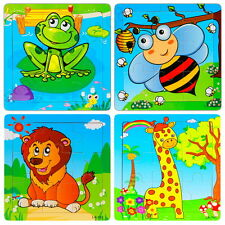 Multi-Color Animal Wooden 9 Pieces Jigsaw Puzzle Toy for Preschool Toddler Kids