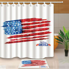 Happy Independence Day Home Bathroom Decor Waterproof Shower Curtain & 12Hooks