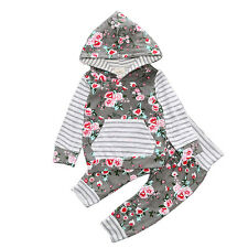 Kids Baby Boy Girl Clothes Set Striped Hooded Tops+Pants Floral Casual Outfits