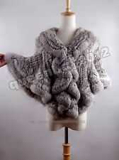 New100% Real Genuine Knitted Rabbit Fur Cape Poncho Stole Shawl Coat Scarf Party