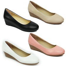 WOMENS LADIES WEDGE HEEL SLIP ON LOAFERS MOCCASINS BALLERINA SHOES SIZE 3-8