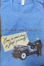 Men's White Silver Blue Heather Willys Overland Jeep Dealer T Shirt L XL 2XL New