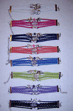 Leather Braided Charm Bracelets - Infinity, tree of life, dove charms