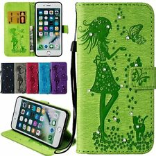 Lovely Girl Rhinestone Flip Wallet Leather Card Case Cover For iPhone 5 6 7 Plus