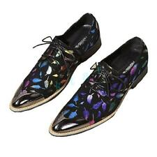 2017 Mens Fashion Comfort Party Lace Up Dress Oxford Rainbow Black Leather Shoes